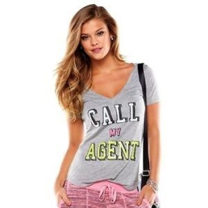 Juicy Couture Call My Agent V-Neck T-shirt grey